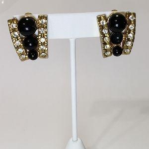 Black Gold Rhinestone Beaded Clip On Earrings